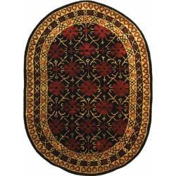 "Safavieh Handmade Classic Agra Maroon Wool Rug - 7'6"" x 9'6"" oval - Thumbnail 0"
