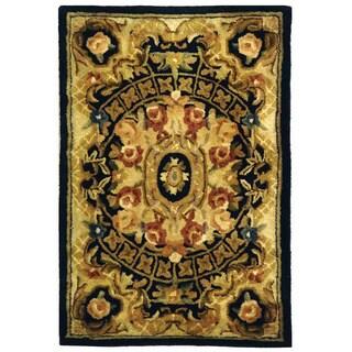 Safavieh Handmade Classic Empire Black/ Gold Wool Rug (2' x 3')