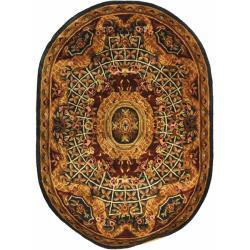 Safavieh Handmade Empire Royal Blue/ Burgundy Wool Rug (7'6 x 9'6 Oval)