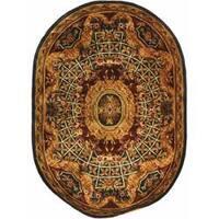 "Safavieh Handmade Empire Royal Blue/ Burgundy Wool Rug - 7'6"" x 9'6"" oval"