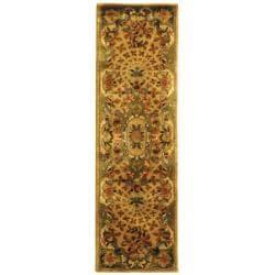 "Safavieh Handmade Classic Empire Taupe/ Light Green Wool Rug - 2'3"" x 12' - Thumbnail 0"