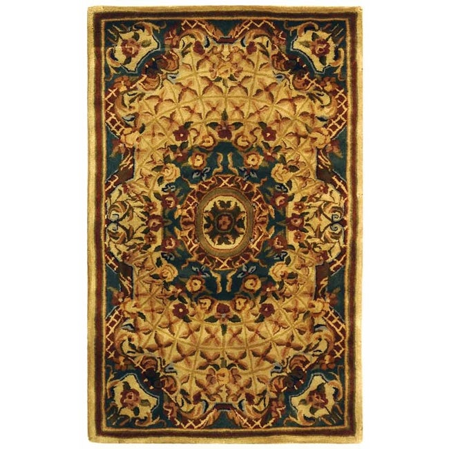 Safavieh Handmade Classic Empire Light Blue/ Ivory Wool Rug (2'3 x 4')
