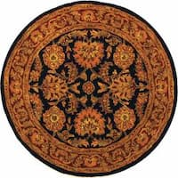 Safavieh Handmade Classic Heirloom Navy/ Red Wool Rug - 6' x 6' Round