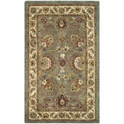 Safavieh Handmade Classic Heirloom Light Blue/ Ivory Wool Rug (2' x 3')