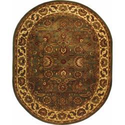 "Safavieh Handmade Classic Heirloom Light Blue/ Ivory Wool Rug - 7'6"" x 9'6"" oval - Thumbnail 0"
