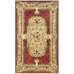 Safavieh Handmade Classic Burgundy/ Beige Wool Rug (2'3 x 4')