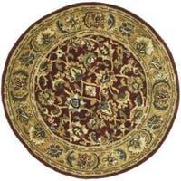 Safavieh Handmade Classic Rust/ Beige Wool Rug - 5' x 5' round