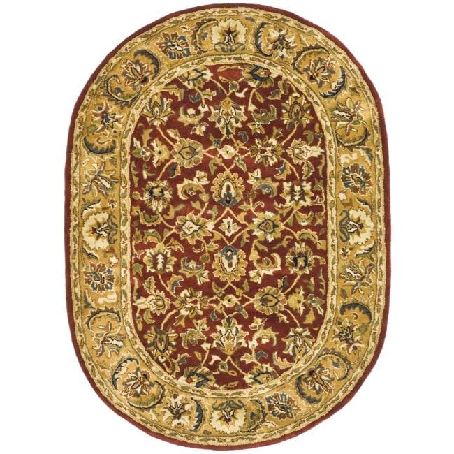 Safavieh Handmade Classic Rust/ Beige Wool Rug (4'6 x 6'6 Oval)