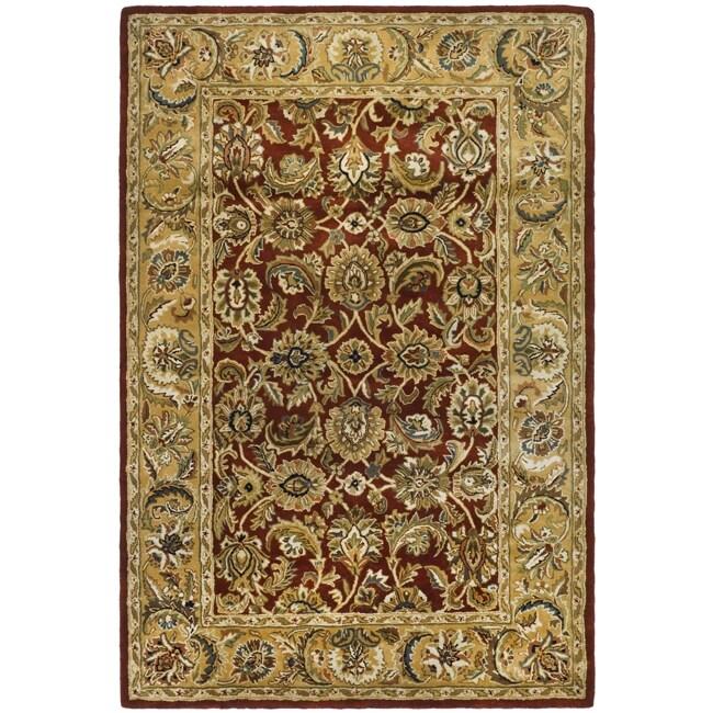 Safavieh Handmade Classic Rust/ Beige Wool Rug - 7'6 x 9'6
