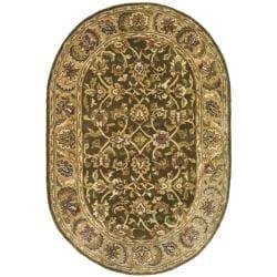 Safavieh Handmade Classic Olive/ Beige Wool Rug (7'6 x 9'6 Oval)