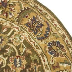 Safavieh Handmade Classic Olive/ Beige Wool Rug (6' Round) - Thumbnail 1