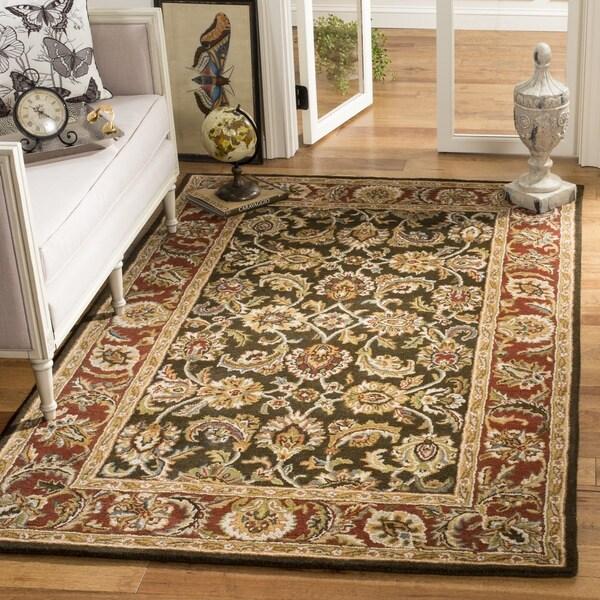 Safavieh Handmade Classic Dark Olive/ Red Wool Rug - 7'6 x 9'6