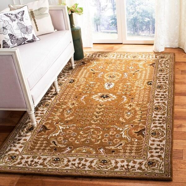 Safavieh Handmade Classic Gold/ Ivory Wool Rug - 4' x 6'