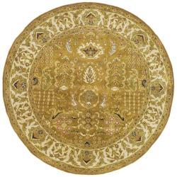 Safavieh Handmade Classic Gold/ Ivory Wool Rug (8' Round)