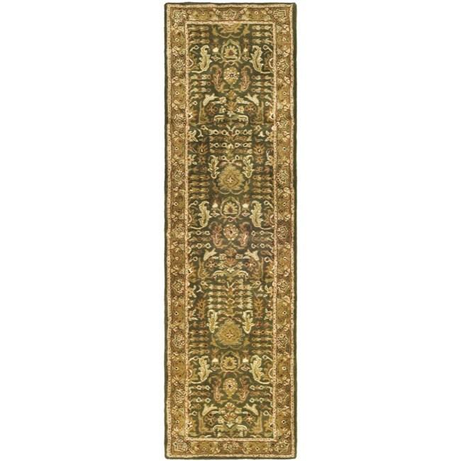 Safavieh Handmade Classic Light Green/ Gold Wool Runner (2'3 x 8')