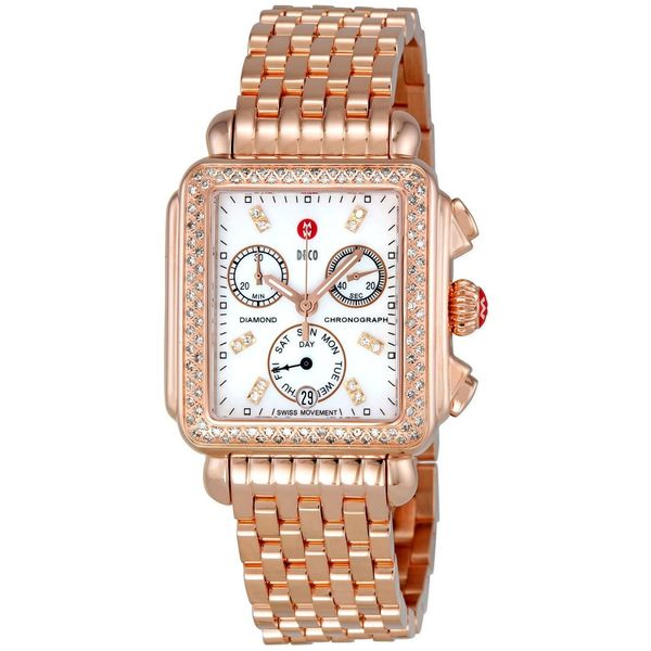 Michele women 39 s deco 18k rose gold diamond watch free for Deco maison rose gold