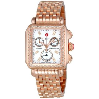Michele Women's Deco 18k Rose-gold Diamond Watch