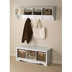 Winslow White Hanging 60-inch Wide Entryway Shelf