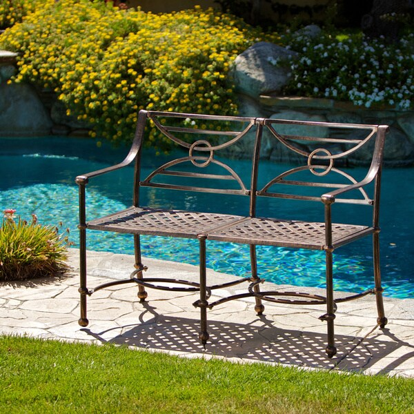 Megan Outdoor Cast Aluminum Bench by Christopher Knight Home