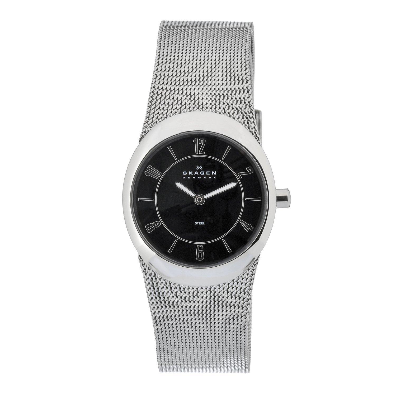 Skagen Women's Black Oval Stainless Steel Watch