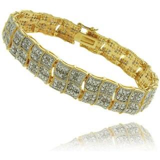 Finesque 18K Gold Overlay 2Ct TDW Diamond Square Wave Bracelet