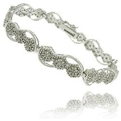 Finesque Silverplated 2ct TDW Diamond Flower Link Bracelet (I-J, I2-I3)