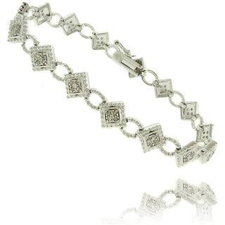 Finesque  Silverplated 1/2ct TDW Diamond Geometric Bracelet (I-J, I2-I3)