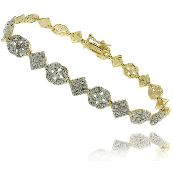 Finesque High-polish 18-karat Gold-over-silver Diamond-accent Bracelet