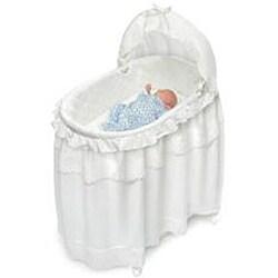 Badger Basket 2-in-1 White Batiste Bassinet and Toy Box