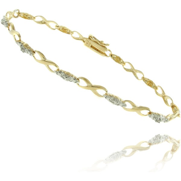 Finesque 18k Gold over Silver Diamond Accent Infinity Link Bracelet