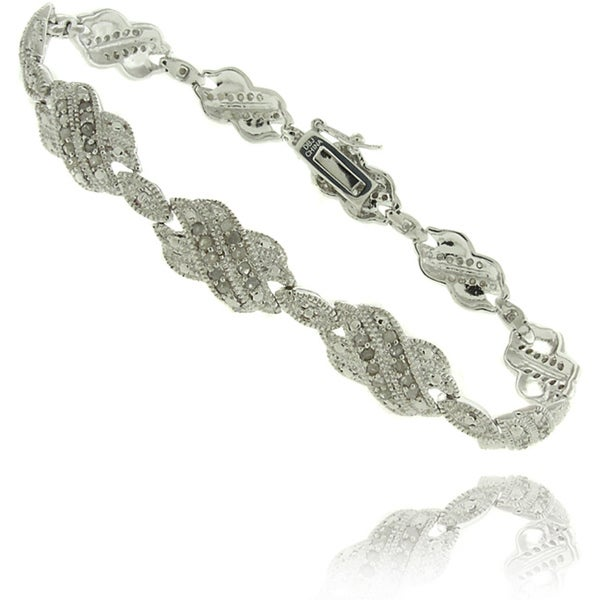 Finesque Silverplated 1ct TDW Diamond Double 'X' Bracelet