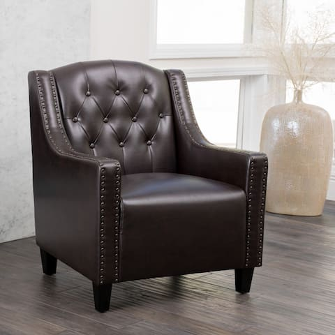 """Gabriel Tufted Leather Club Chair by Christopher Knight Home - 28.90"""" L x 32.20"""" W x 37.40"""" H"""