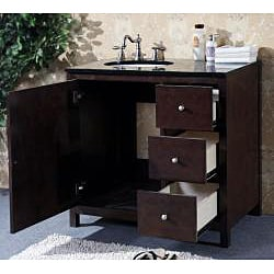 granite top 36 inch single sink bathroom vanity - free shipping