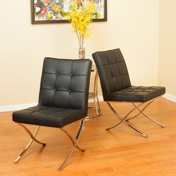 Milania Black Leather Dining Chairs (Set of 2) by Christopher Knight Home