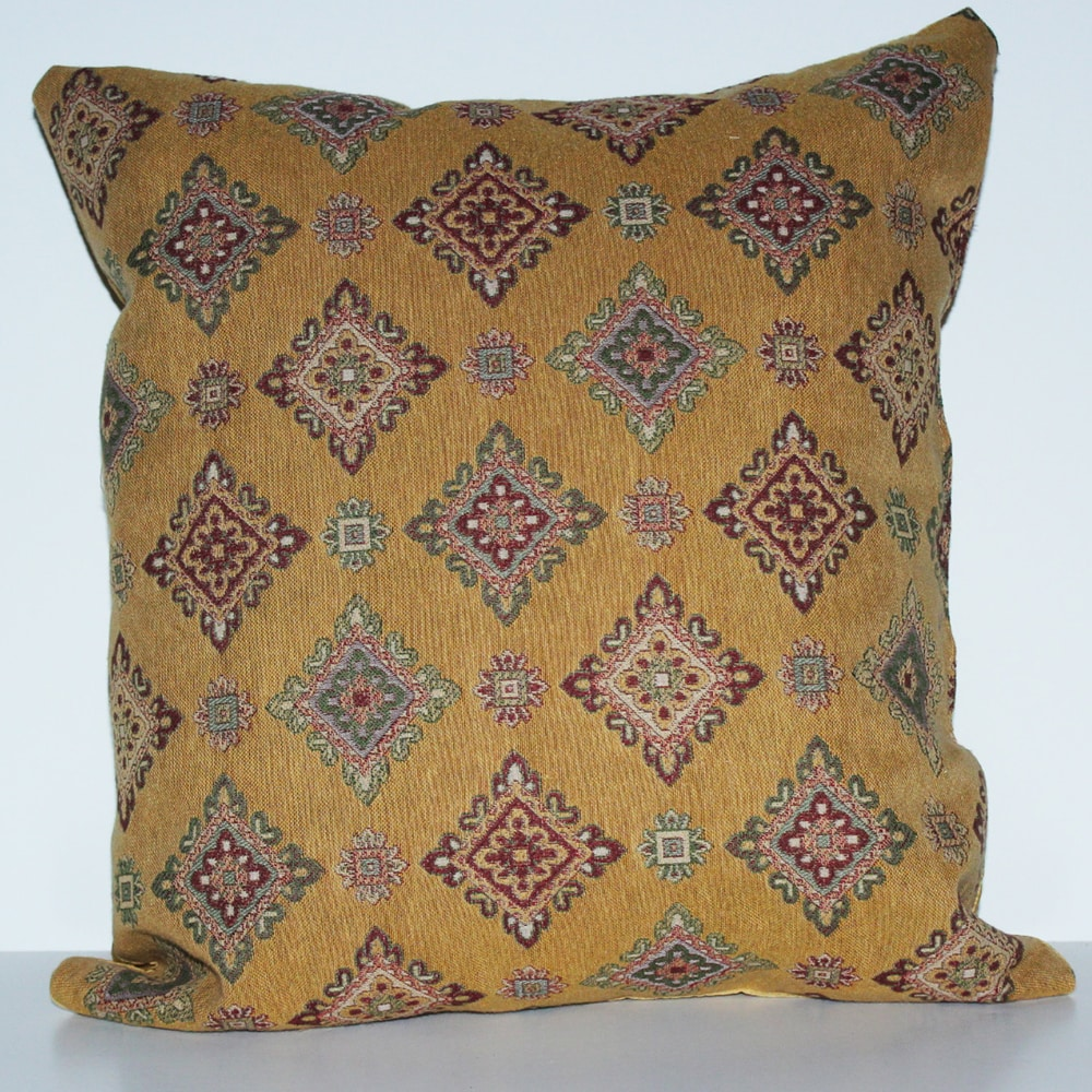 RLF Home 'Savoy' Mustard Diamond Decorative Pillow - Thumbnail 0