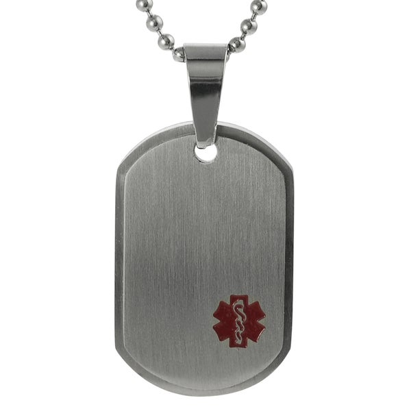 Journee Collection Stainless Steel Medical Caduceus Tag Necklace