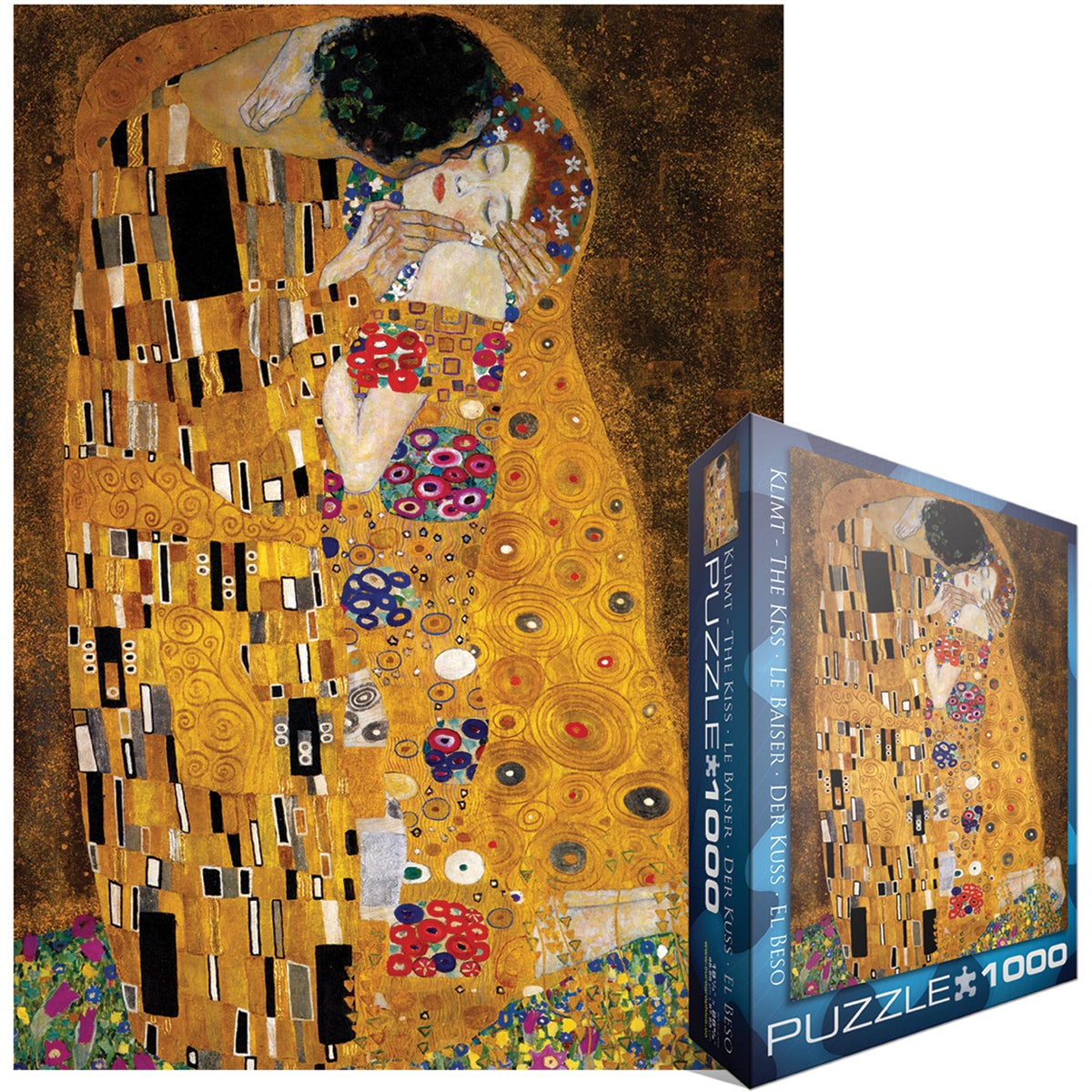 jigsaw puzzle 1000 pieces klimt the kiss der kuss free shipping on orders over 45. Black Bedroom Furniture Sets. Home Design Ideas