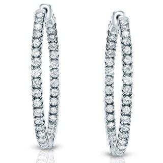 Auriya 14k White or Yellow Gold 3ct TDW 33MM Diamond Hoop Earrings