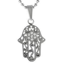 Journee Collection Stainless Steel Cubic Zirconia Hamsa Necklace