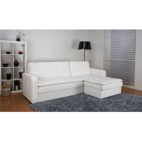 Shop Denver White Double Cushion Storage Sectional Sofa Bed ...