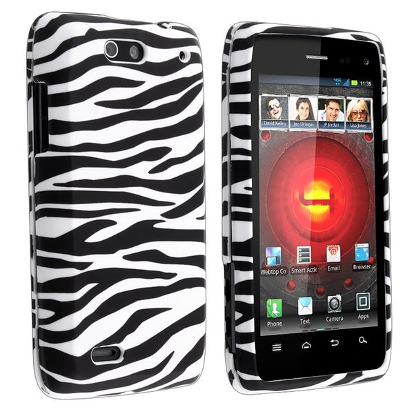 Shop Black/ White Zebra Snap-on Rubber Coated Case for Motorola Droid 4/ 4G - Free Shipping On
