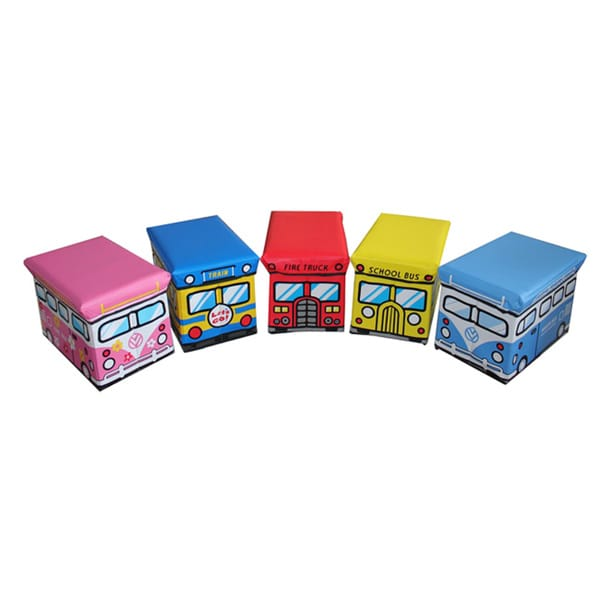 Kids' Large Folding Storage Ottomans (Set of 5)