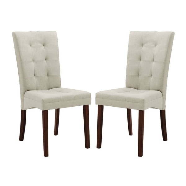 Contemporary Beige Fabric Dining Chair 2-Piece Set by Baxton Studio