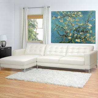 Babbitt Ivory Leather Modern Sectional Sofa