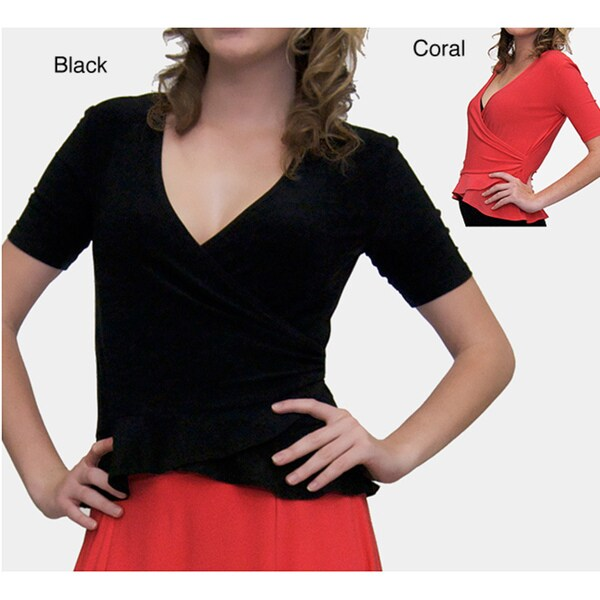 Shining Star Women's Short Sleeve Wrap Shirt