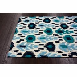 nuLOOM Handmade Modern Ikat Ivory Rug (5' x 8') - Thumbnail 1
