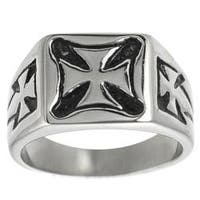 Vance Co. Stainless Steel Men's Pattee Cross Ring