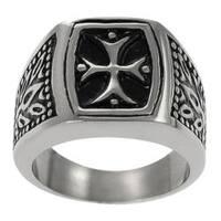 Vance Co. Stainless Steel Men's Vintage-style Pattee Cross Ring