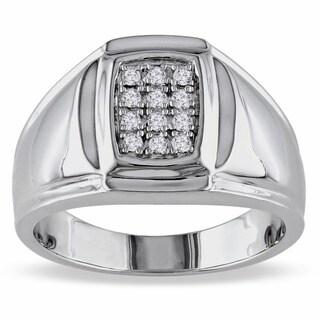 Miadora Sterling Silver 1/5ct TDW Men's Diamond Ring (H-I, I2-I3)