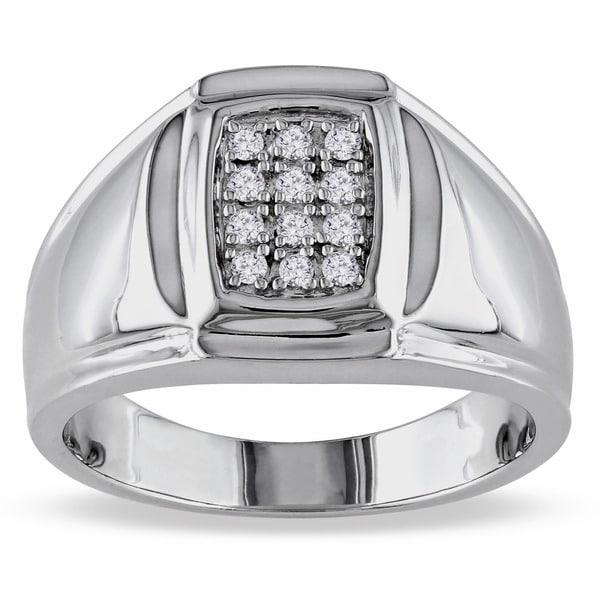 Miadora Sterling Silver 1/5ct TDW Men's Diamond Ring (H-I, I2-I3)